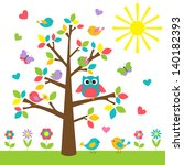 Stock photo colorful tree with cute owl and birds raster version 140182393
