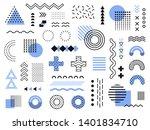 memphis design elements. retro... | Shutterstock . vector #1401834710