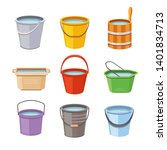 Water Buckets Set. Metal Pail ...