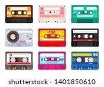 retro cassettes. vintage 1980s... | Shutterstock .eps vector #1401850610