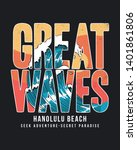 great waves text with the waves ... | Shutterstock .eps vector #1401861806