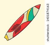 surfboard hand drawn pop art...   Shutterstock .eps vector #1401874163