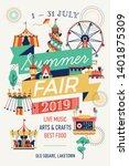 summer fair vertical poster or... | Shutterstock .eps vector #1401875309