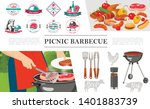 flat bbq party concept with man ...   Shutterstock .eps vector #1401883739