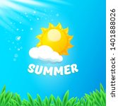 vector summer label with sun... | Shutterstock .eps vector #1401888026