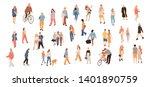 set of crowd people. vector... | Shutterstock .eps vector #1401890759