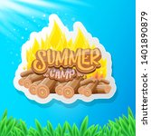 vector summer kids camp cartoon ... | Shutterstock .eps vector #1401890879