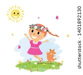 little cute girl and dog run on ... | Shutterstock .eps vector #1401892130