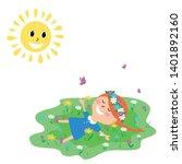 little cute red haired girl... | Shutterstock .eps vector #1401892160