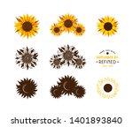 set of stylized sunflowers.... | Shutterstock .eps vector #1401893840