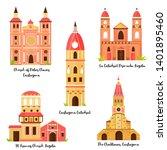 set of famous landmarks of... | Shutterstock .eps vector #1401895460
