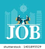 job interview.  two business...   Shutterstock .eps vector #1401895529