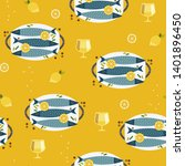 flat hand drawn fish cooking... | Shutterstock .eps vector #1401896450