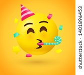party face emoji   yellow face... | Shutterstock .eps vector #1401896453
