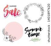 summer sale card template. hand ... | Shutterstock .eps vector #1401897620