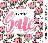 summer sale card template. hand ... | Shutterstock .eps vector #1401897623