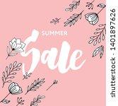 summer sale card template. hand ... | Shutterstock .eps vector #1401897626
