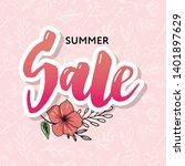 summer sale card template. hand ... | Shutterstock .eps vector #1401897629