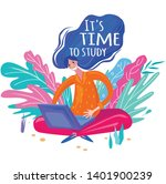 girl in the garden working at...   Shutterstock .eps vector #1401900239