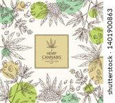 background with hemp  cannabis... | Shutterstock .eps vector #1401900863