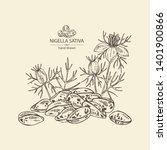 background with nigella sativa  ... | Shutterstock .eps vector #1401900866