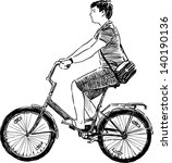 teen riding a bicycle | Shutterstock .eps vector #140190136