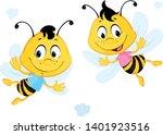 two bees flying cartoon... | Shutterstock .eps vector #1401923516