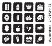 farm products icons. grunge... | Shutterstock .eps vector #1401924473