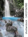 Costa Rica landscape. Blue falls of Costa Rica at Catarata del Toro near Bajos del Toro, Alajuela, Costa Rica. Photo taken with Neutral density filter and slow shutterspeed.