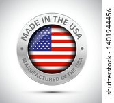 made in america flag metal icon  | Shutterstock .eps vector #1401944456