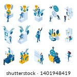 isometric concepts of goal... | Shutterstock .eps vector #1401948419