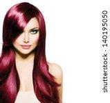 beautiful brunette girl with... | Shutterstock . vector #140195050