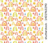 watercolor rainbow drops and sun | Shutterstock . vector #1401963290