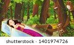 cartoon scene with happy young... | Shutterstock . vector #1401974726