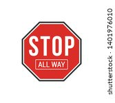 red all way stop sign isolated...   Shutterstock .eps vector #1401976010