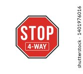 red 4 way stop sign isolated on ...   Shutterstock .eps vector #1401976016