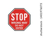 red stop wrong way do not enter ...   Shutterstock .eps vector #1401976073