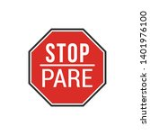 bilingual stop pare sign...   Shutterstock .eps vector #1401976100