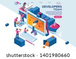 engineer team at project... | Shutterstock .eps vector #1401980660