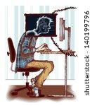 Concept of computer addiction - stock vector