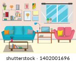 the living room with furniture... | Shutterstock .eps vector #1402001696