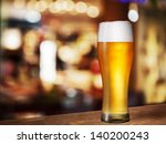 Cold Beer Glass On Bar Or Pub...