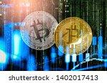 modern way of exchange. bitcoin ...   Shutterstock . vector #1402017413