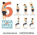 infographic of 6 yoga poses for ... | Shutterstock .eps vector #1402022846