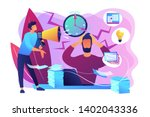 exhausted  frustrated worker ... | Shutterstock .eps vector #1402043336