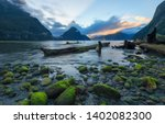 View of Milford Sound with beautiful sky, Fiordland National Park, South New Zealand