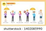 set of heatstroke medical heath ... | Shutterstock .eps vector #1402085990