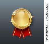 award golden blank medal with... | Shutterstock .eps vector #1402093223