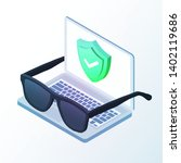 laptop with green shield and...   Shutterstock .eps vector #1402119686