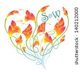 flowers in heart frame. a...   Shutterstock .eps vector #140212000